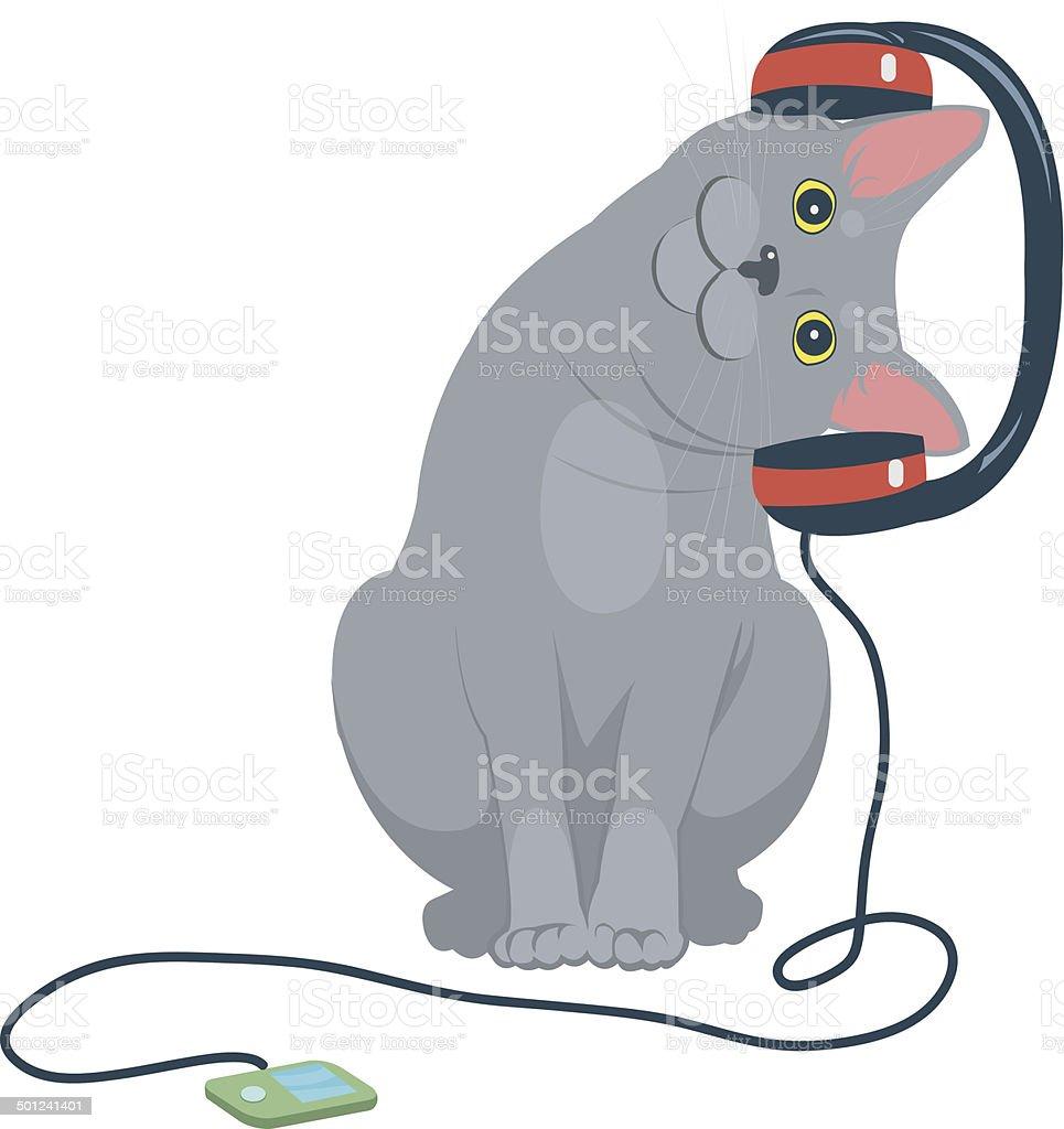cat music headphones royalty-free stock vector art