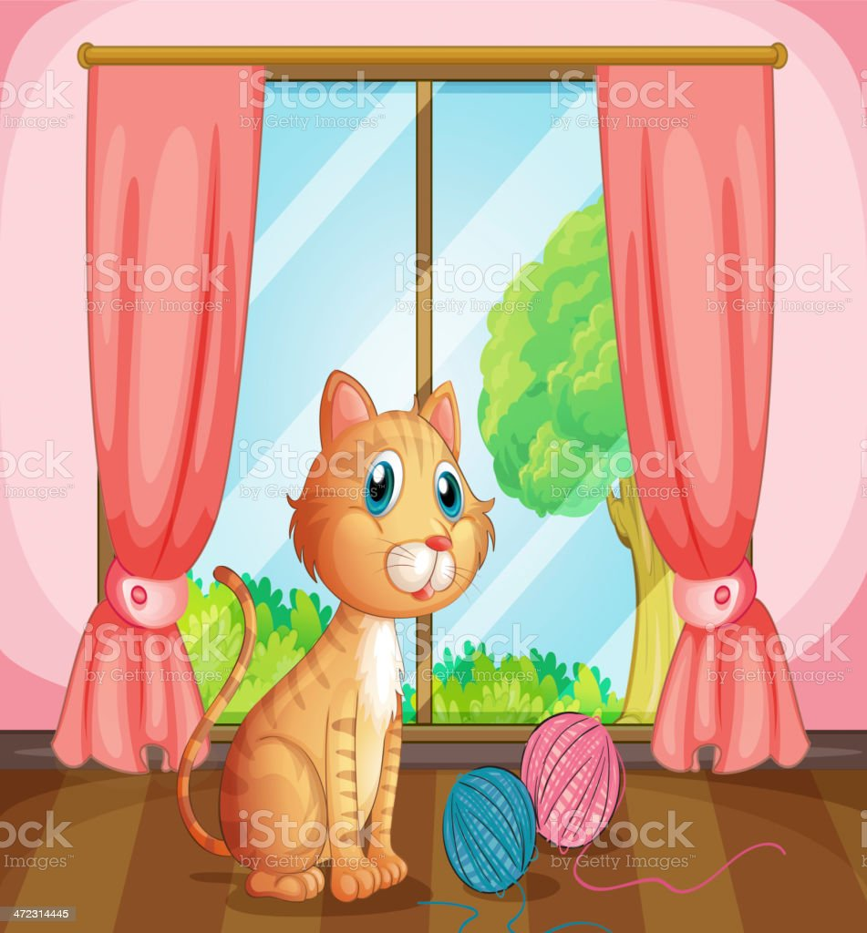 Cat near the window royalty-free stock vector art