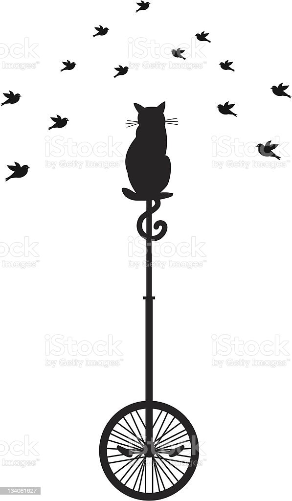 cat on monocycle with birds royalty-free stock vector art