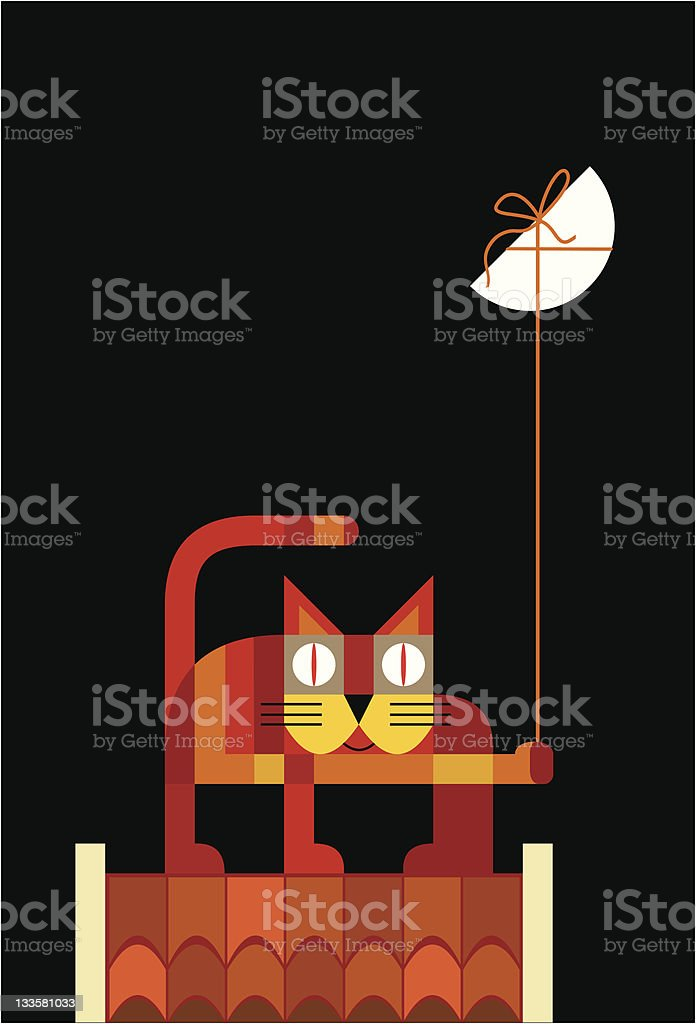 Cat on roof with moon vector art illustration