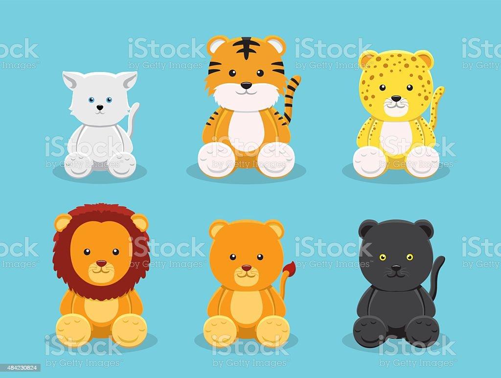 Cat Panthera Doll Cartoon Vector Illustration vector art illustration