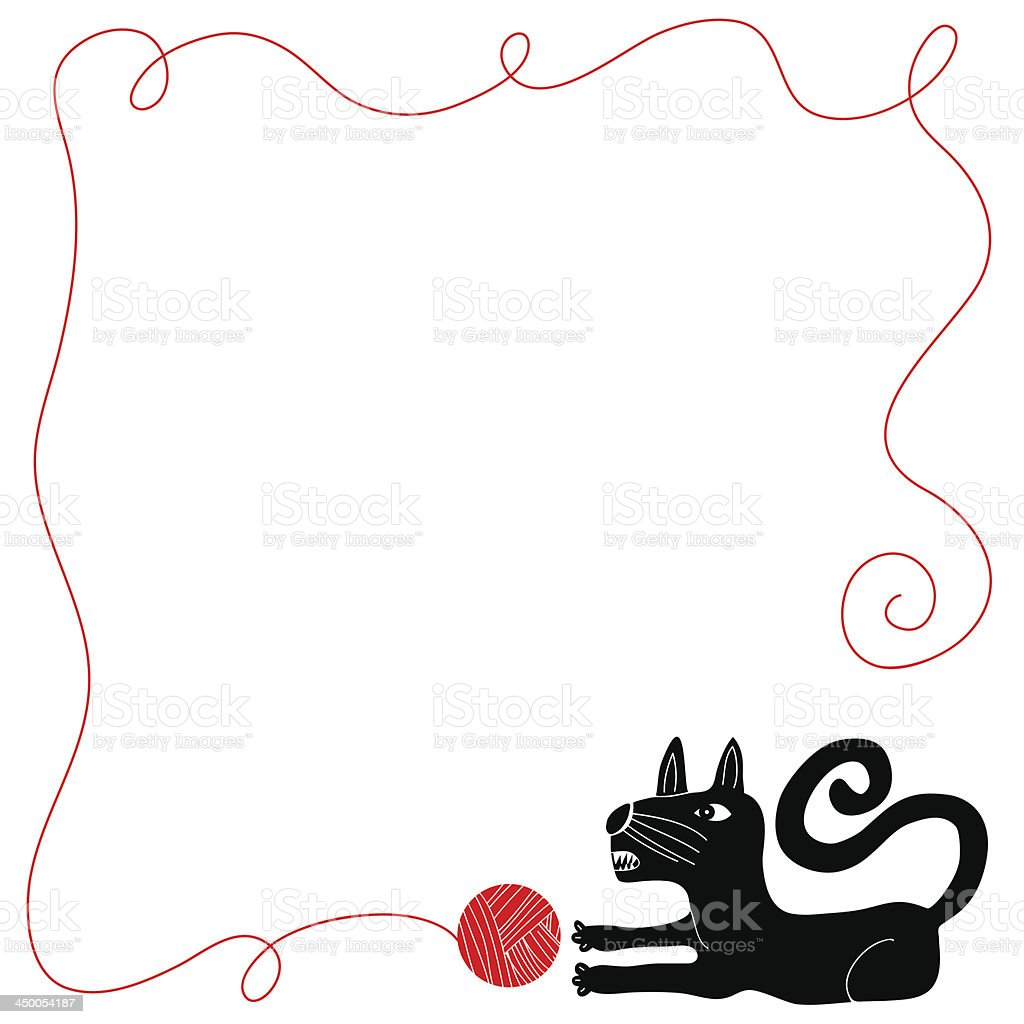 Cat playing with ball of yarn royalty-free stock vector art
