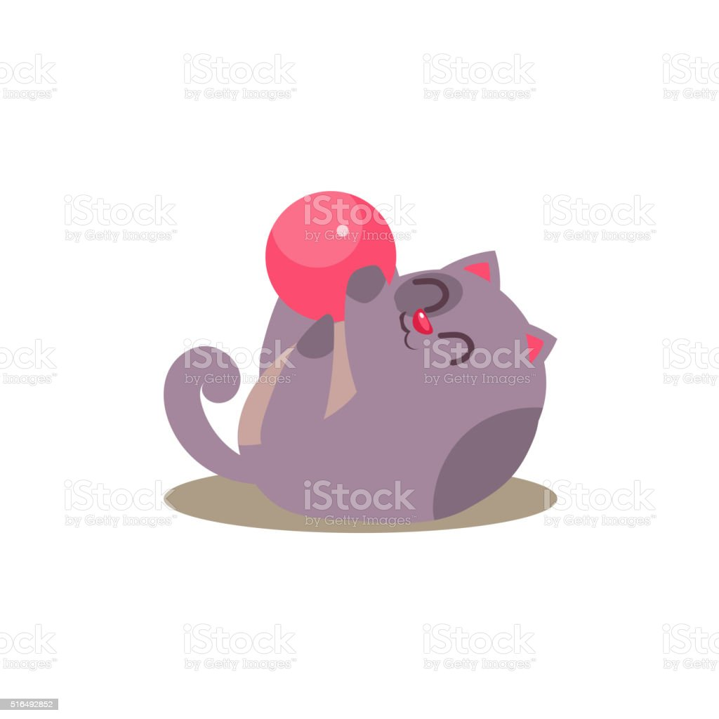 Cat Playing With Ball vector art illustration