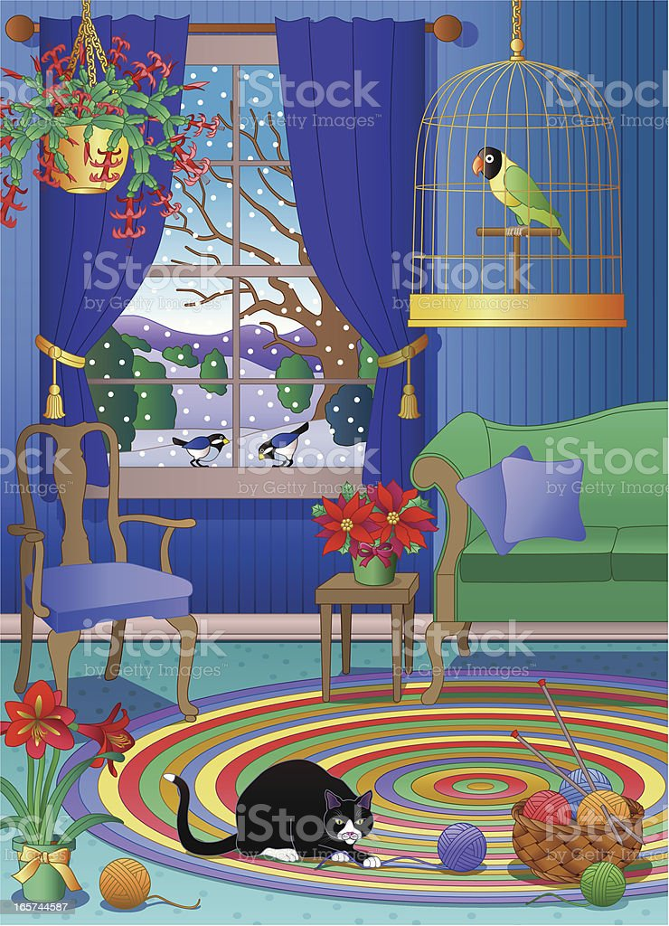 cat playing with yarn in the living room vector art illustration