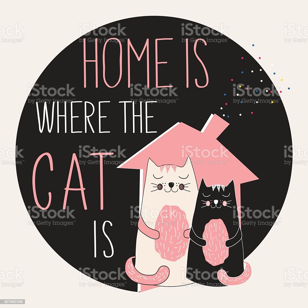 cat poster with quote vector art illustration