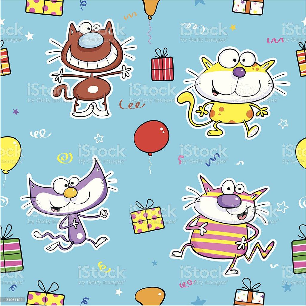 Cat present pattern royalty-free stock vector art