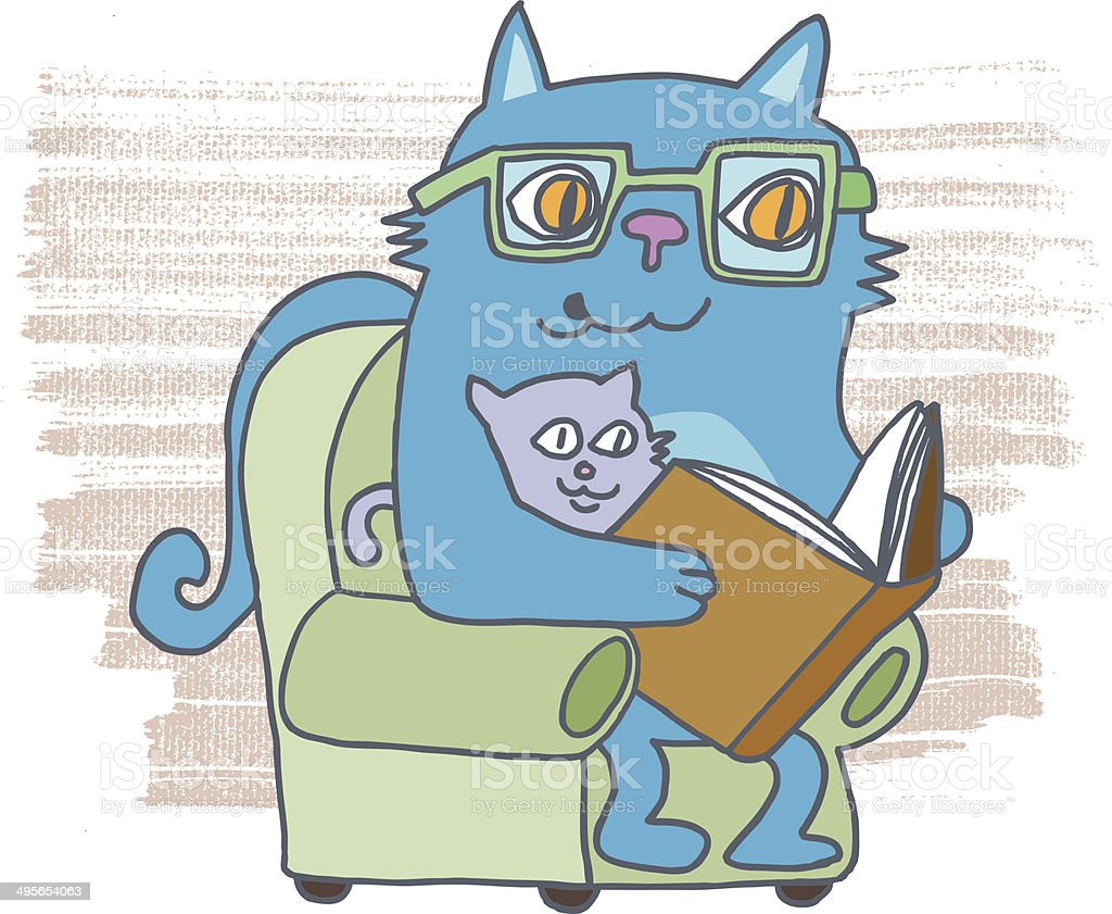 Cat reading story vector art illustration