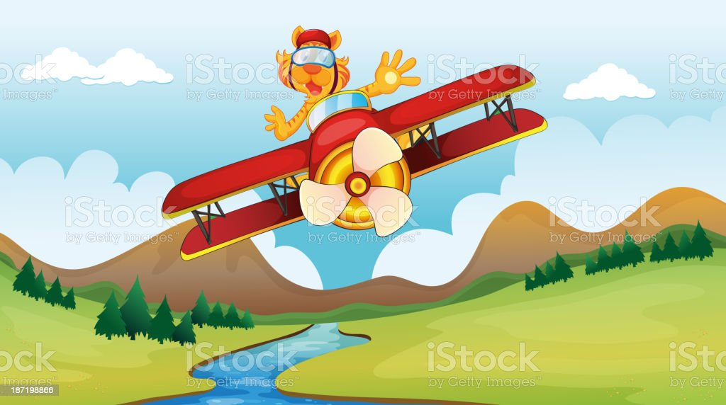 cat riding on a plane royalty-free stock vector art