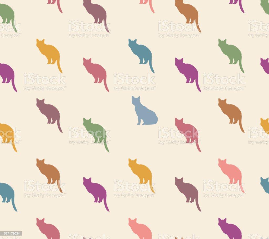 Cat seamless pattern.Kitten ornamental background. vector art illustration