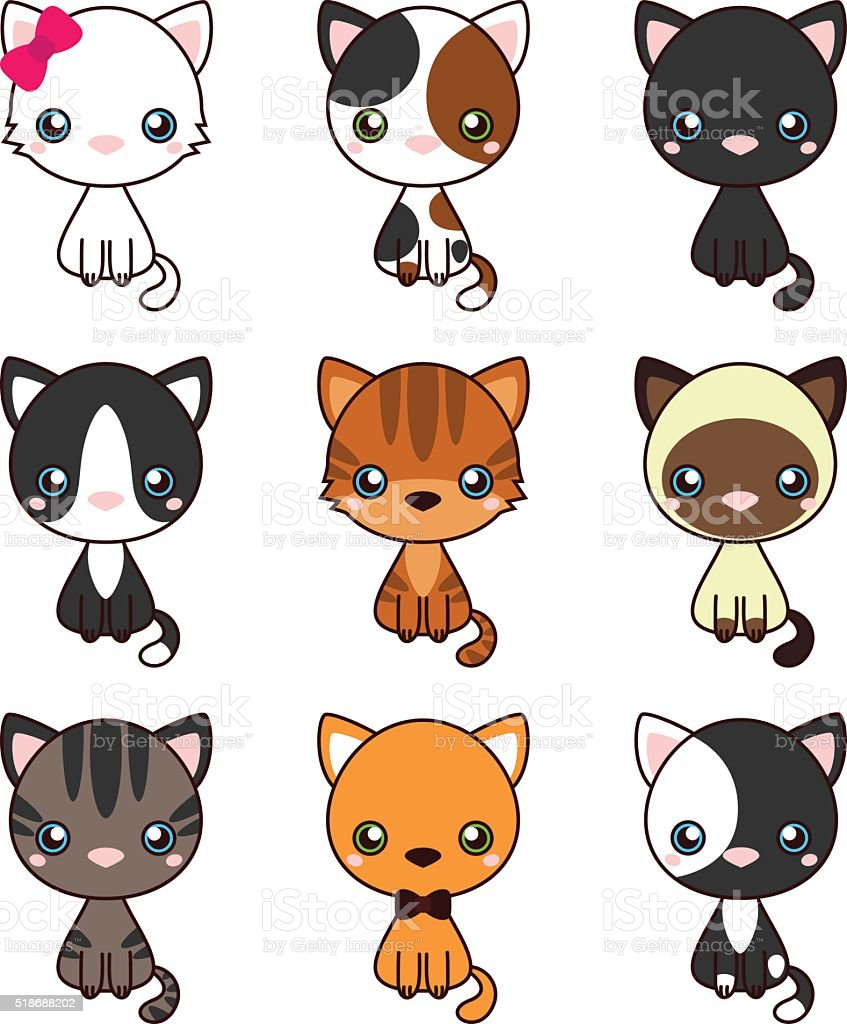 Cat Set, with black cat, white cat, grey cat, grey and white cat,...