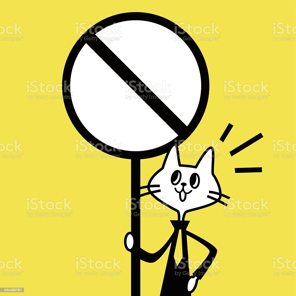 Cat showing a prohibition sign vector art illustration