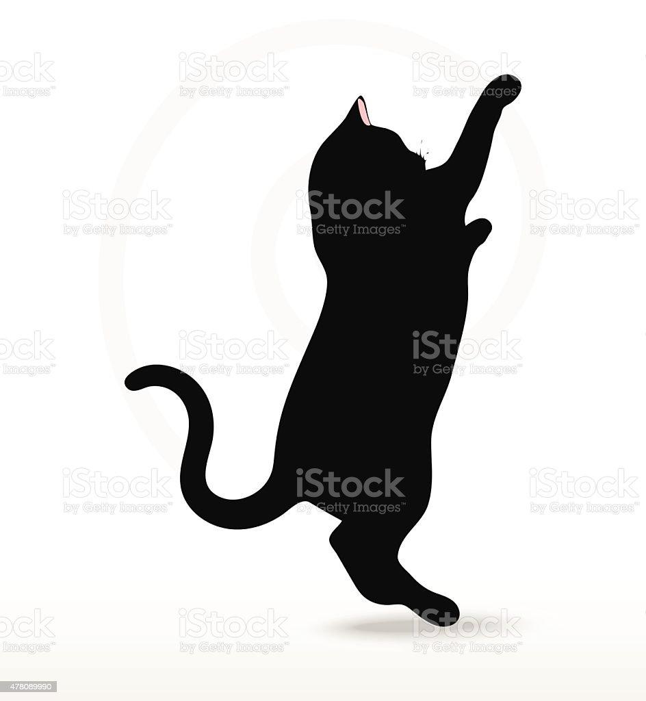 cat silhouette in Reach pose vector art illustration