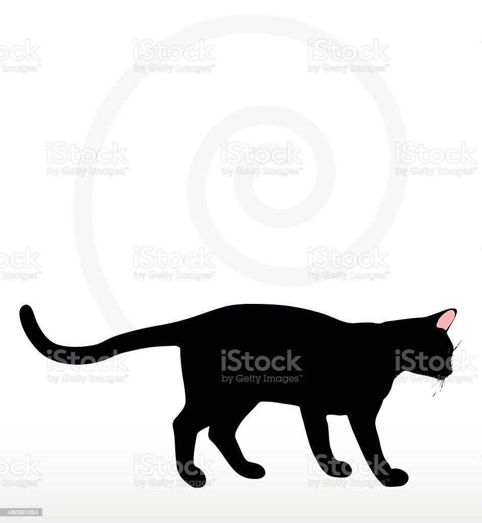 cat silhouette in Rubbing Scent  pose vector art illustration