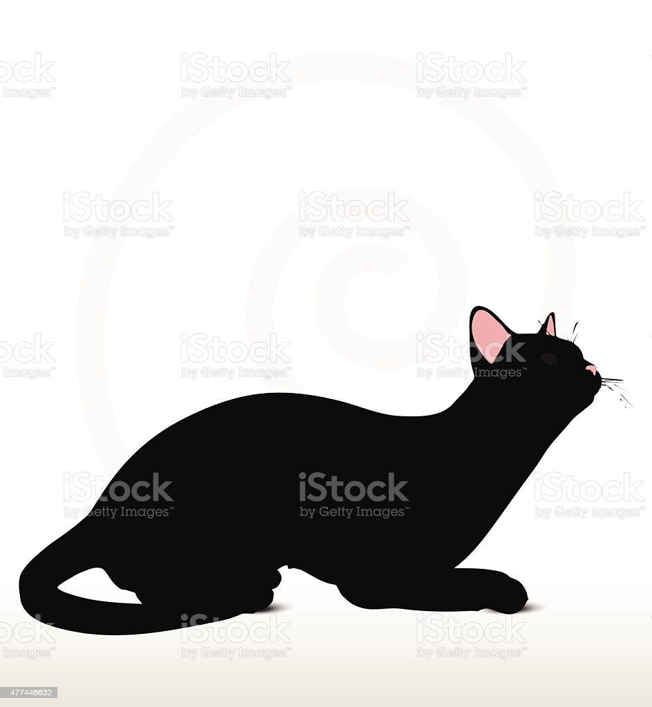 cat silhouette in sitting pose vector art illustration