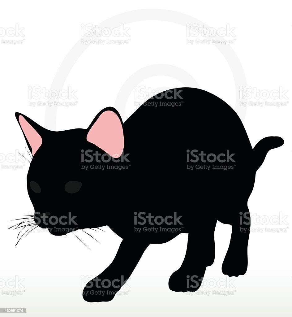 cat silhouette in Stalking pose vector art illustration