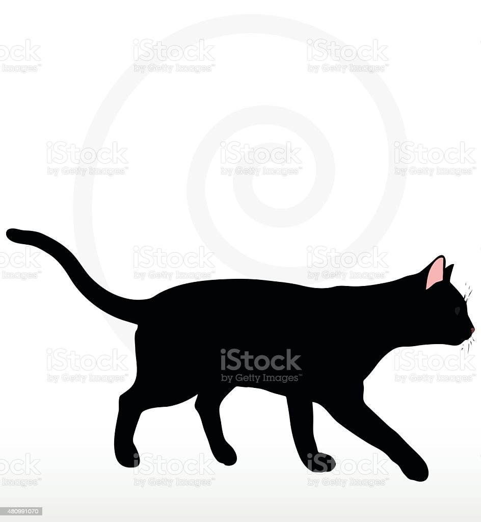 cat silhouette in Walking pose vector art illustration