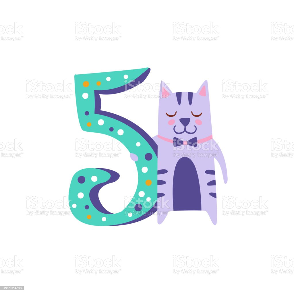 Cat Standing Next To Number Five Stylized Funky Animal vector art illustration
