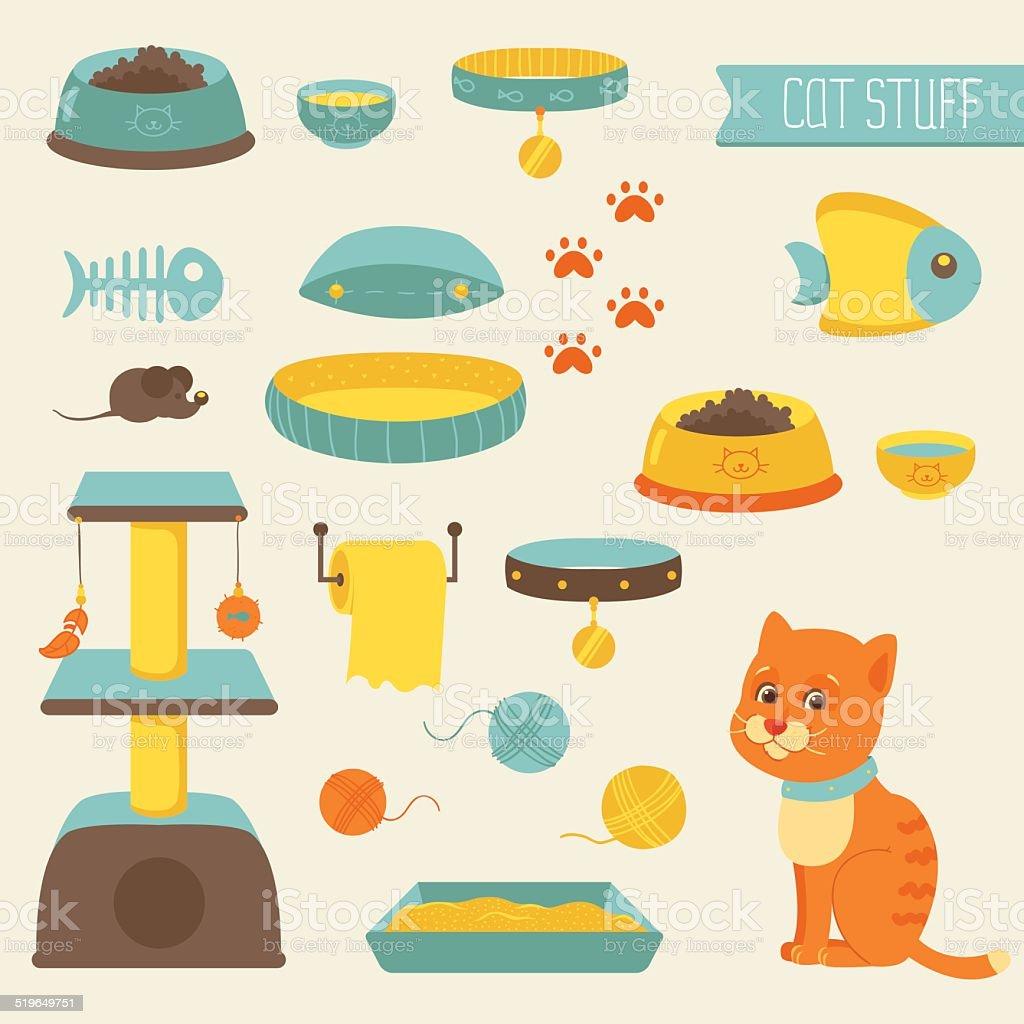 Cat stuff collection, cat toys, cat food vector art illustration