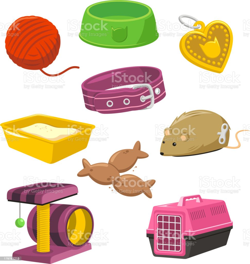Cat Stuff Toy Set Wool Feeding Bowl Mouse Play Isle vector art illustration