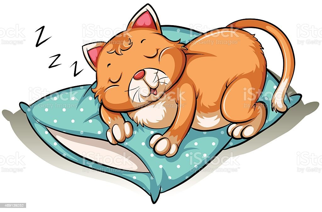 Cat taking a nap vector art illustration