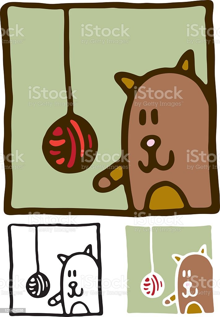 Cat with ball of wool vector art illustration