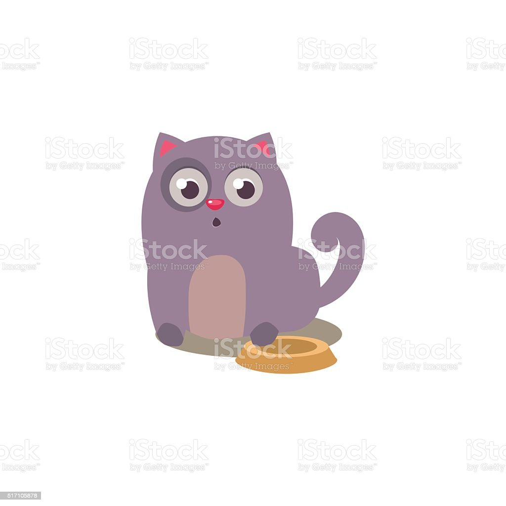 Cat With Empty Plate vector art illustration