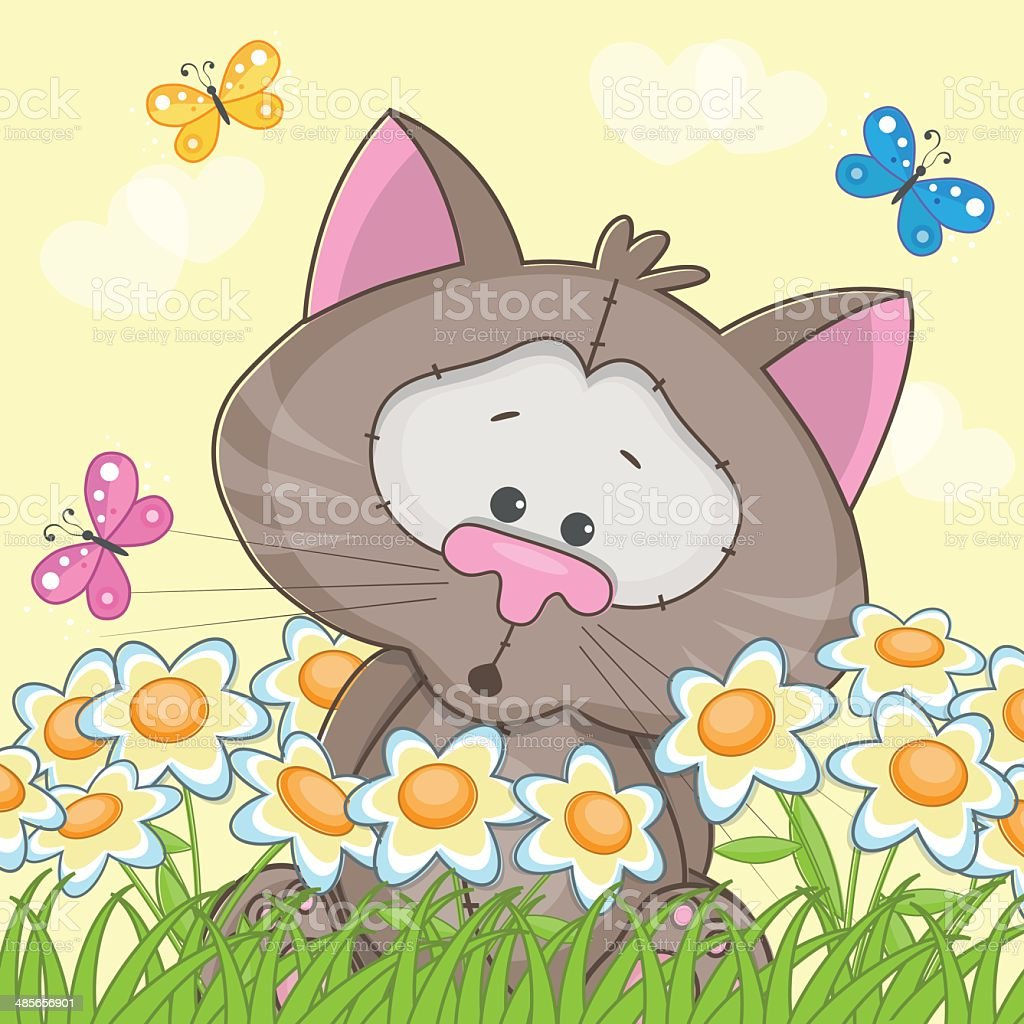 Cat with flowers royalty-free stock vector art