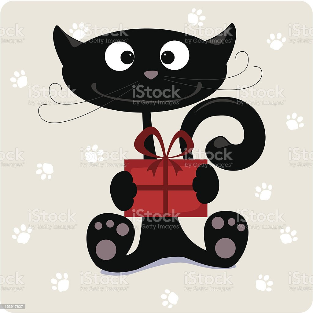 Cat with gift royalty-free stock vector art