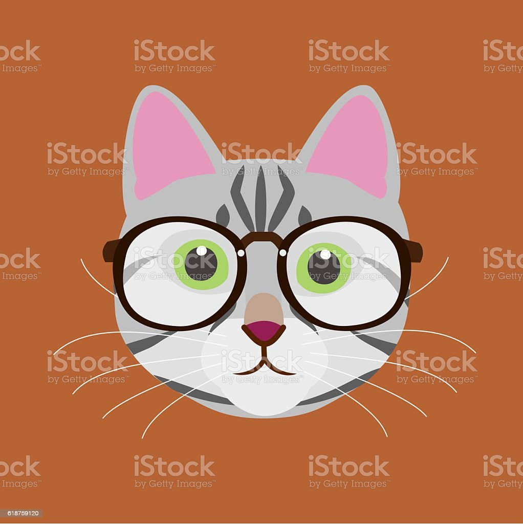 Cat with glasses vector art illustration