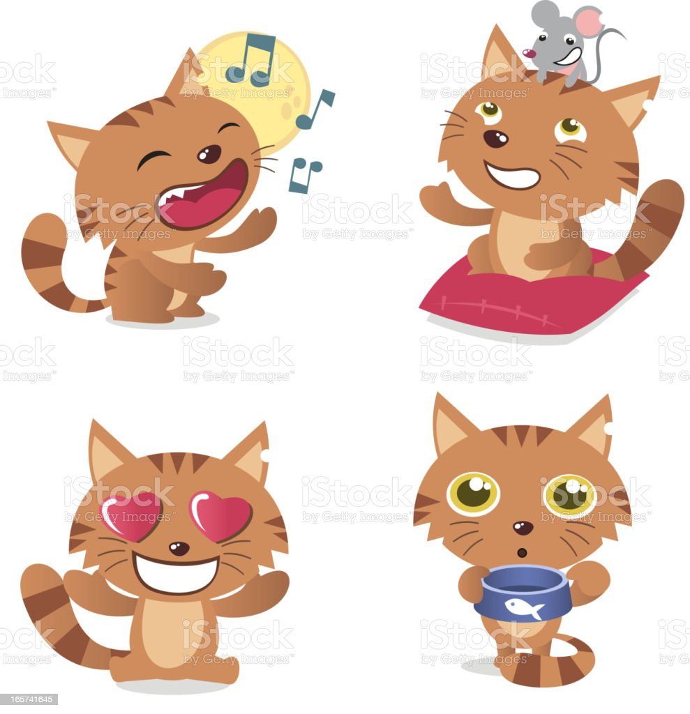 Cat with singing kitten mouse and tomcat in love pussycat vector art illustration