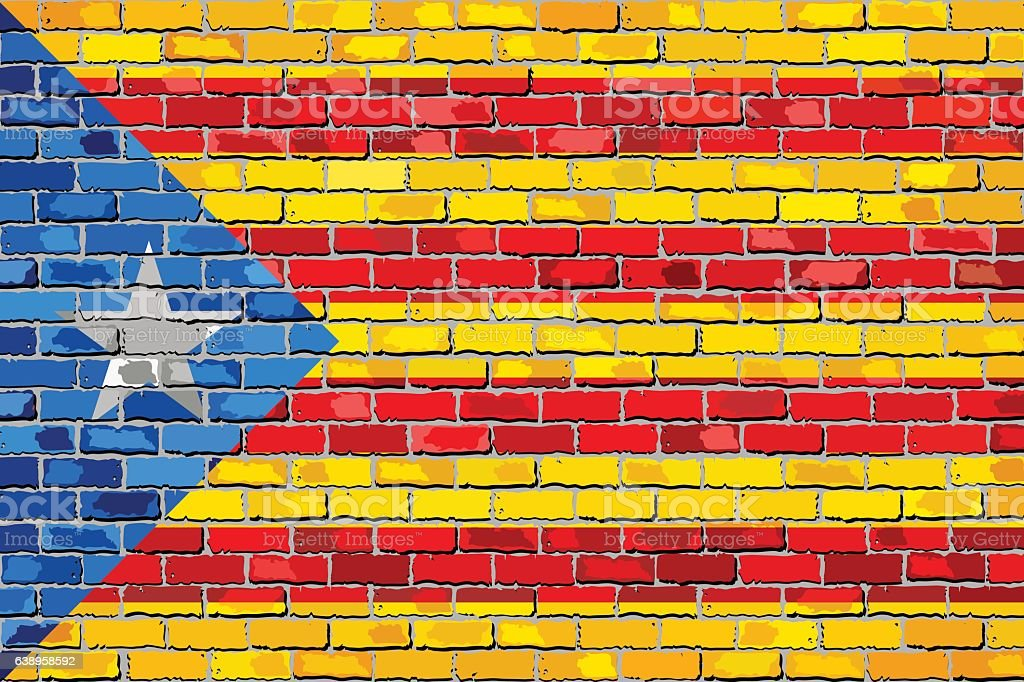 Catalan flag with a white star in brick style vector art illustration