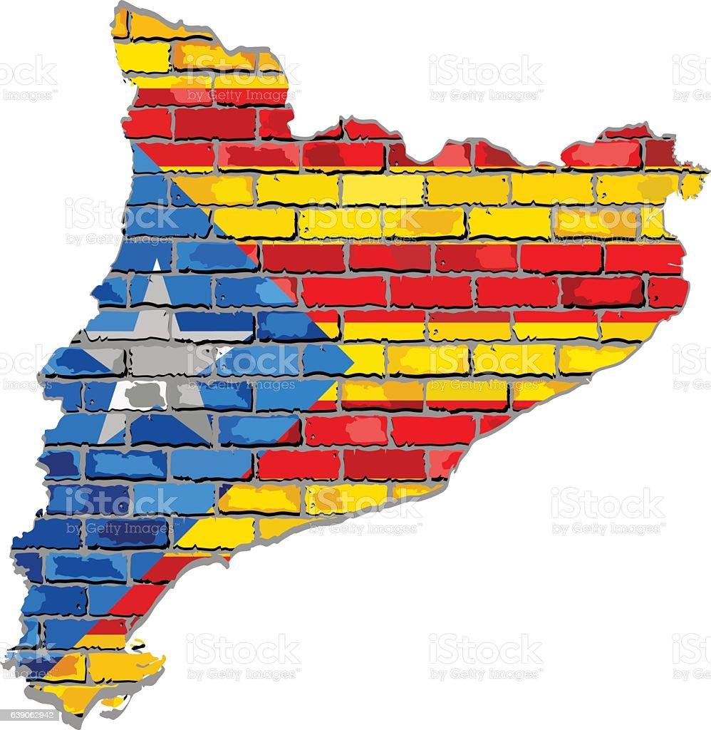 Catalan map on a brick wall vector art illustration