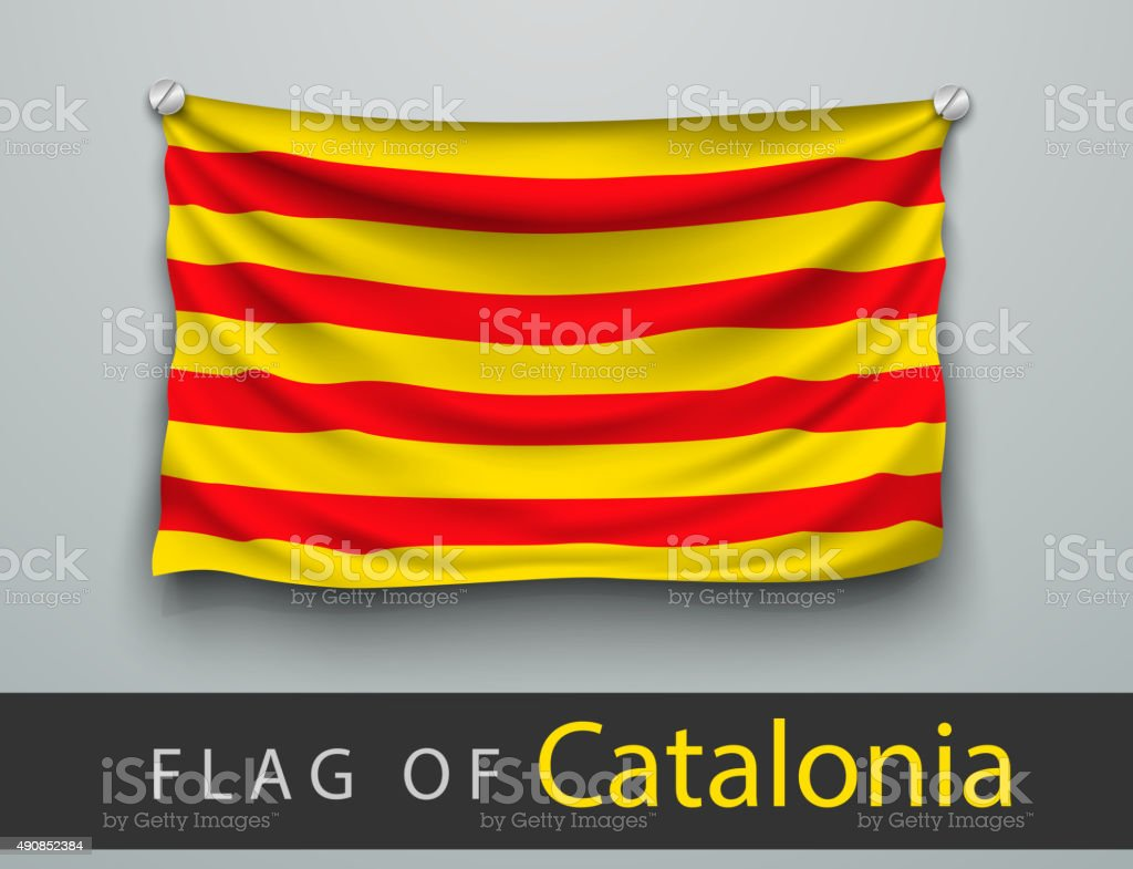 FLAG OF catalonia battered, hung on the wall vector art illustration