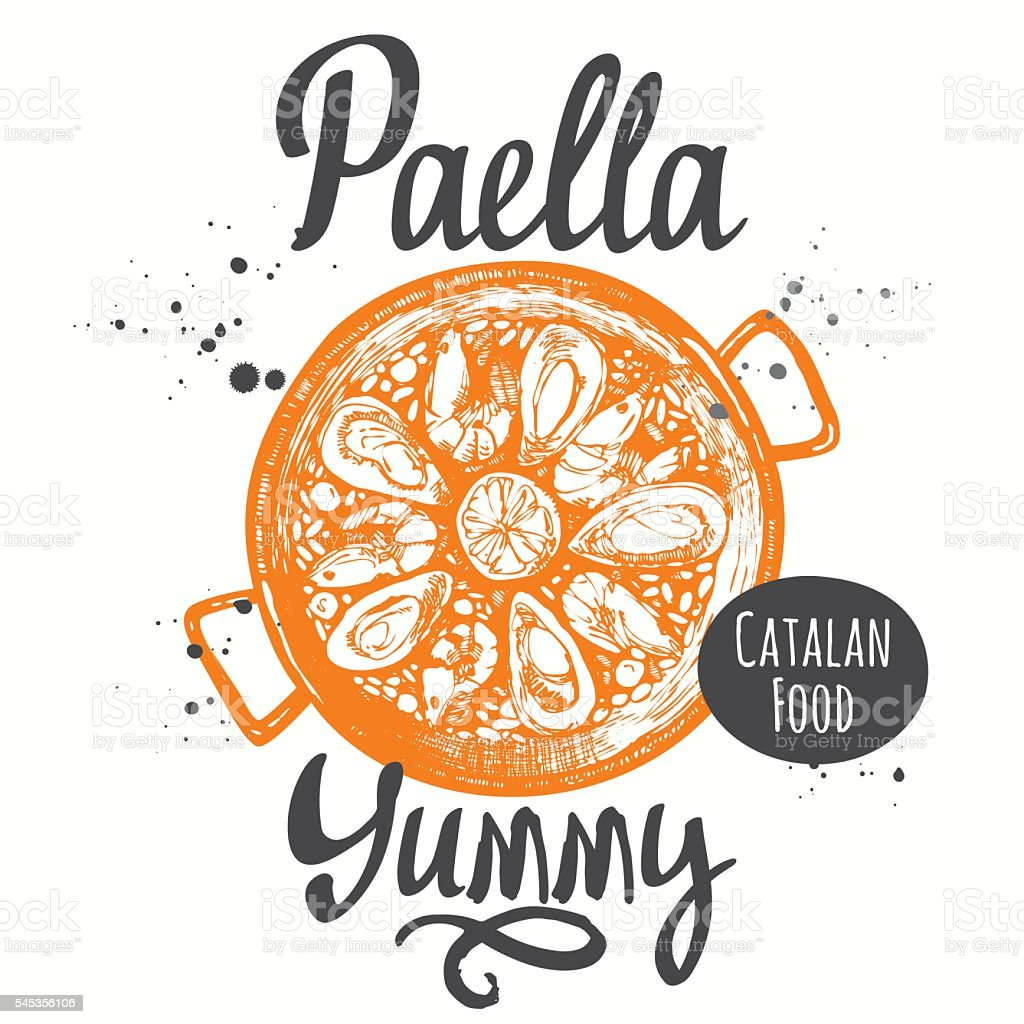 Catalonia food in the sketch style. Paella. Lettering vector. vector art illustration