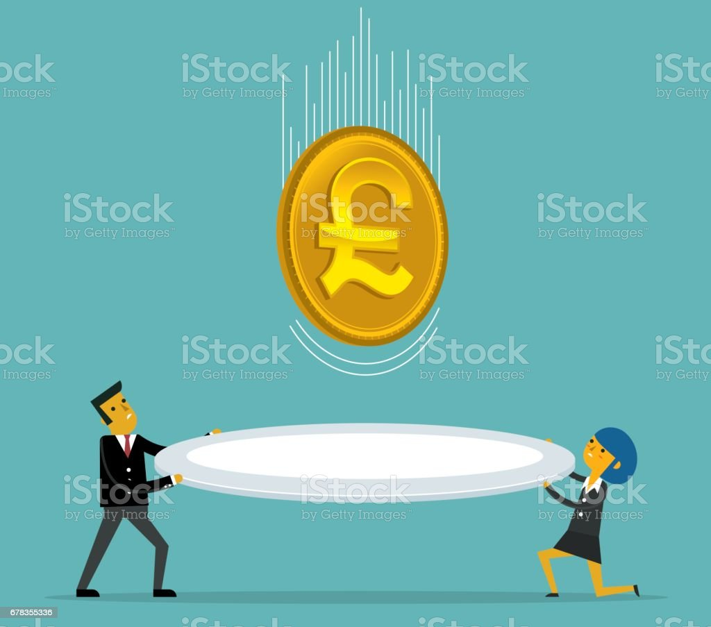 Catch falling Pound Coins vector art illustration