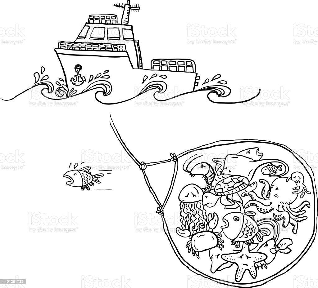 Catching fish illustration vector art illustration