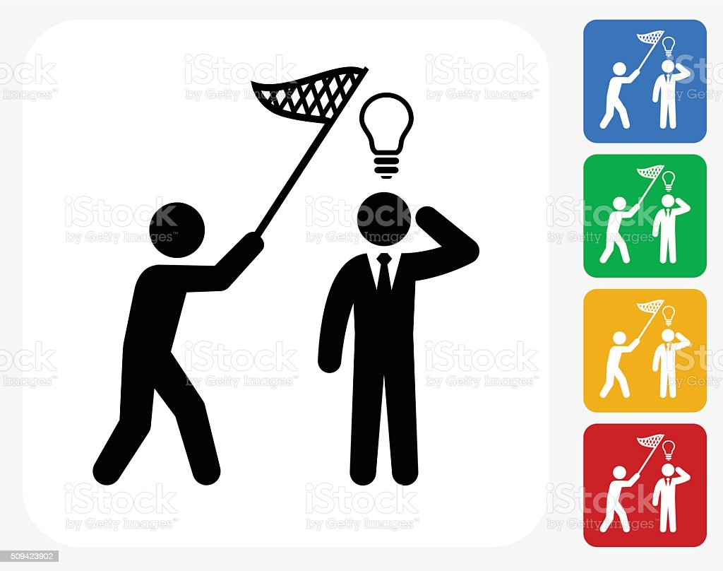 Catching Idea Icon Flat Graphic Design vector art illustration