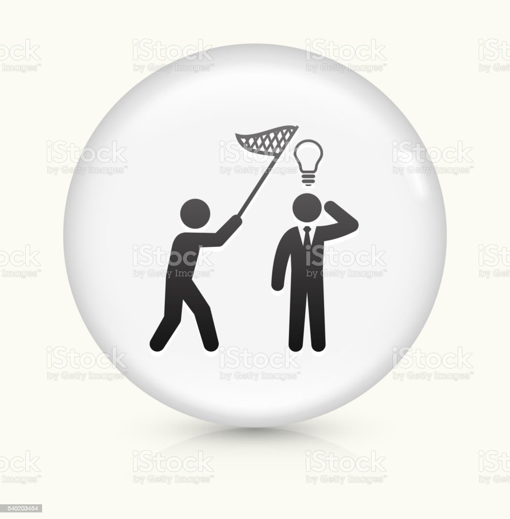 Catching Idea icon on white round vector button vector art illustration