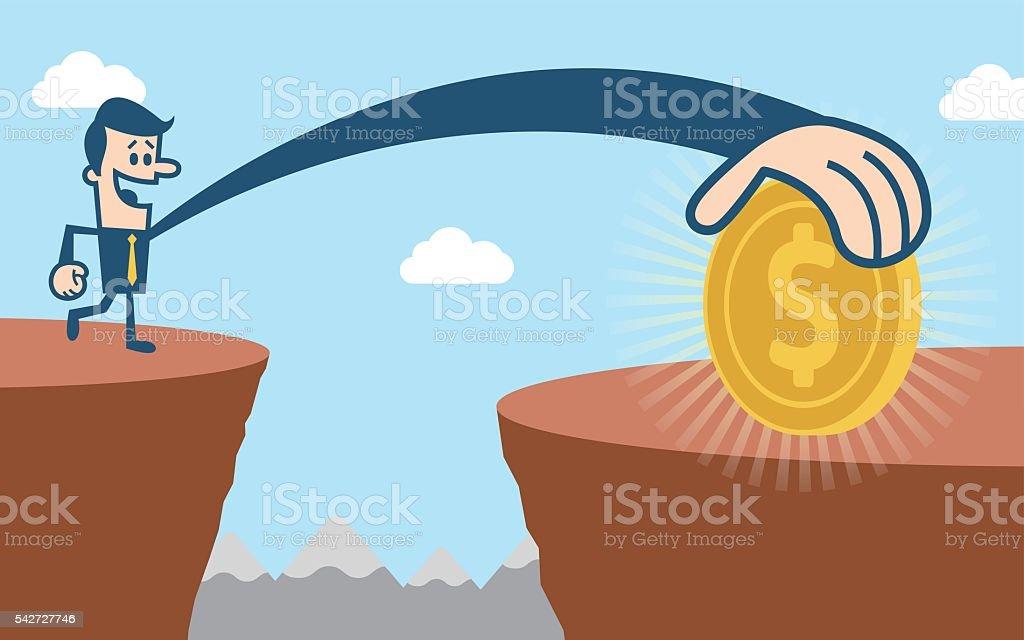 Catching money vector art illustration