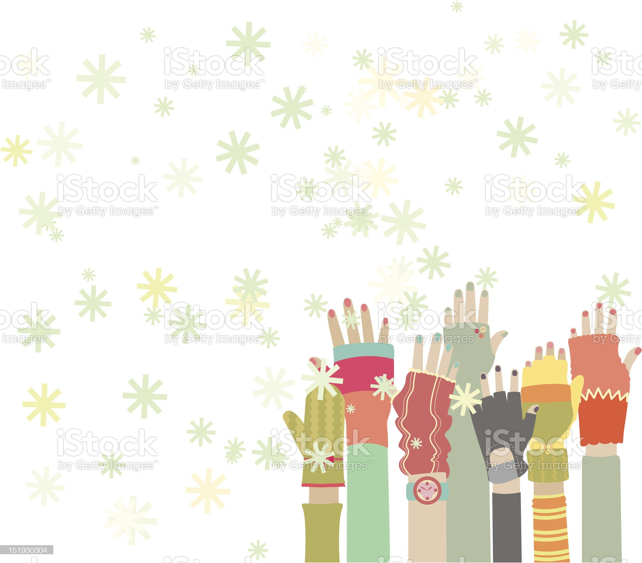 Catching snowflakes royalty-free stock vector art