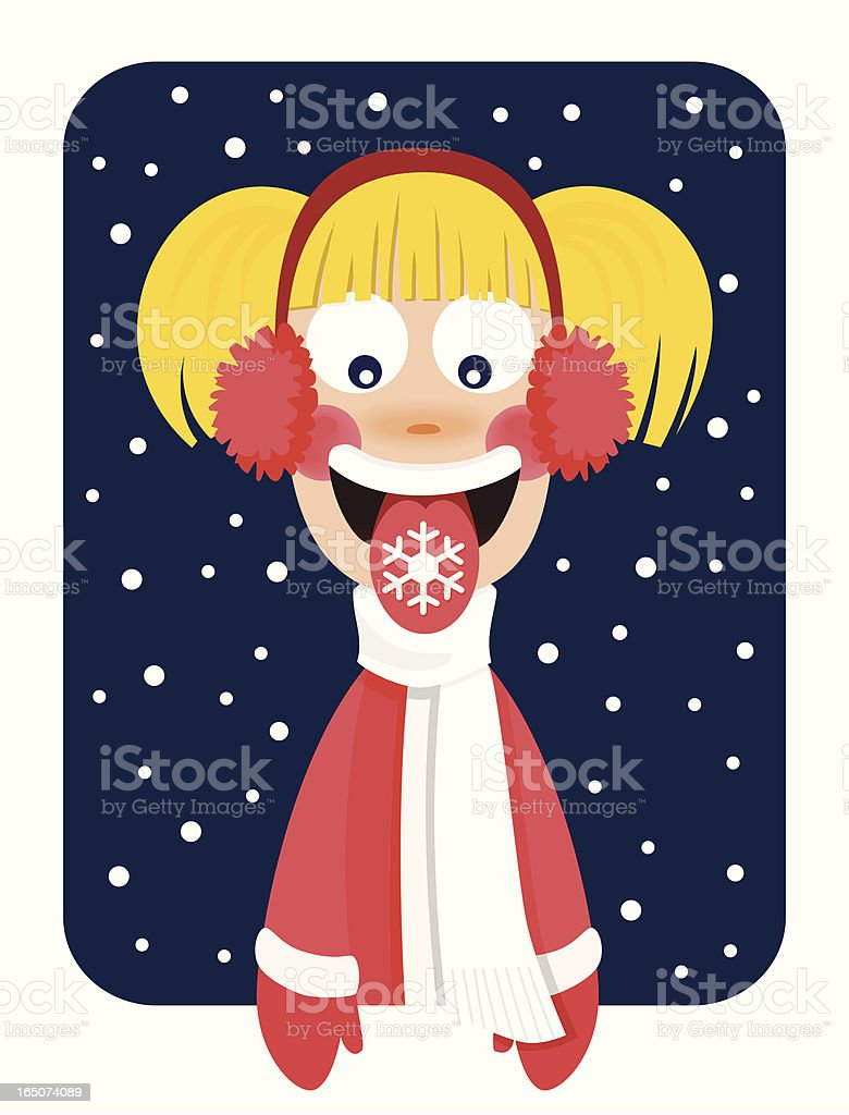 Catching Snowflakes vector art illustration