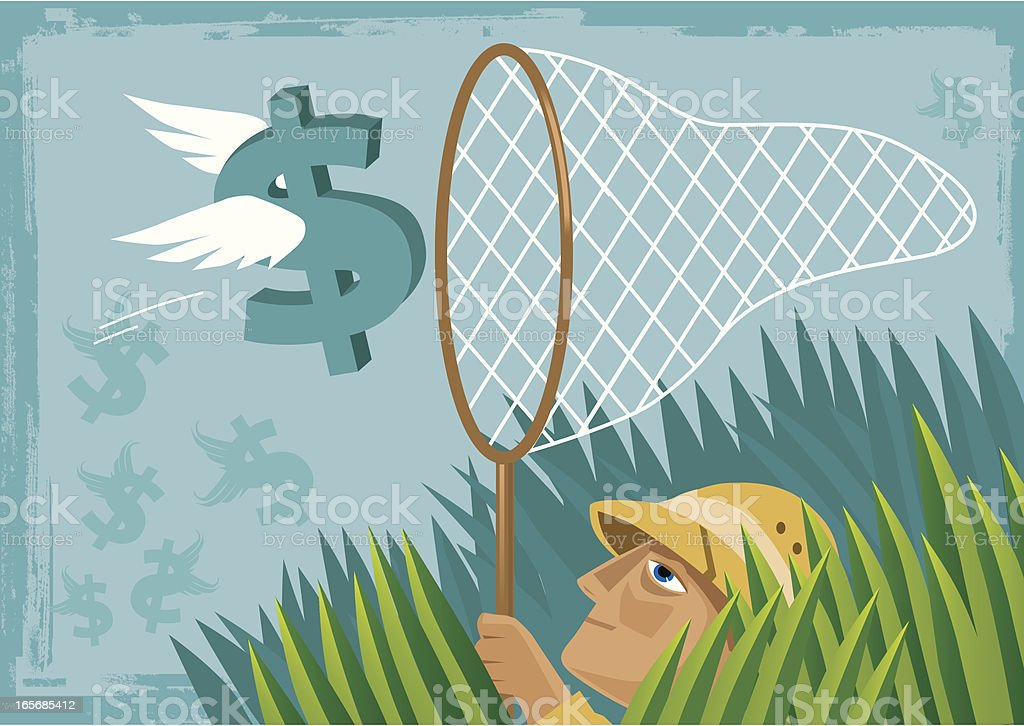 Catching The Money vector art illustration