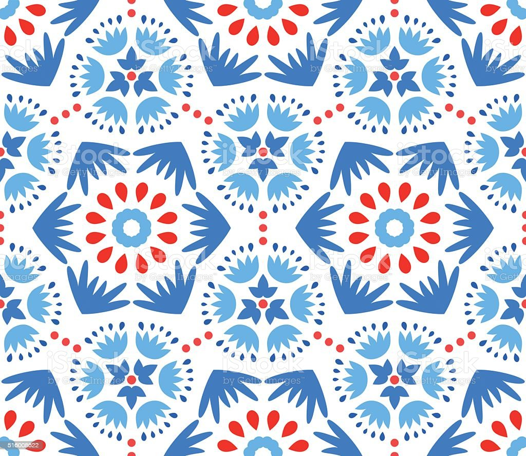 Catchy Blue and Red Flower Pattern vector art illustration