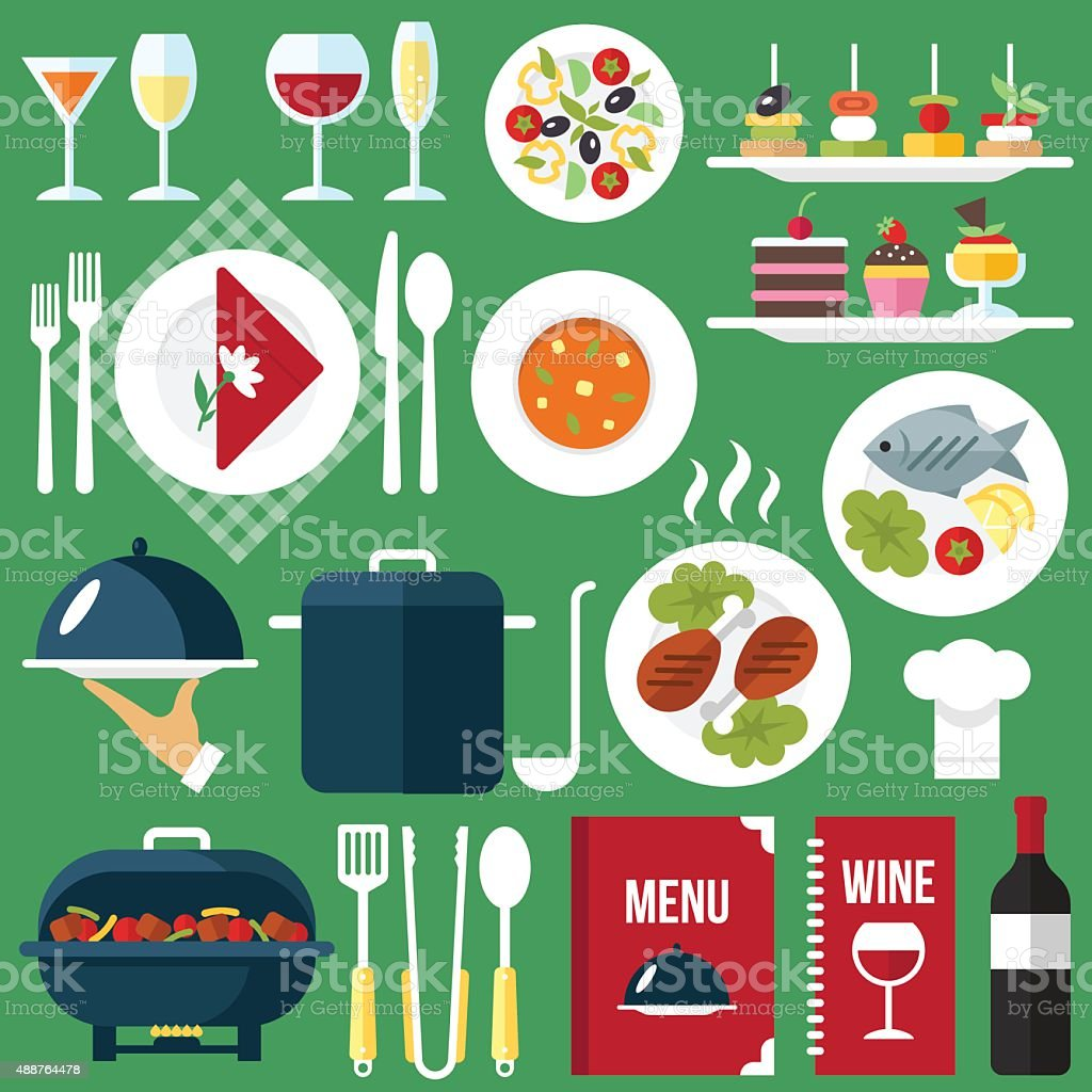 Catering food vector art illustration