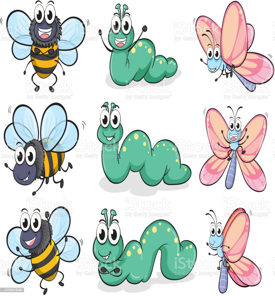 caterpillar, a butterfly and  bee royalty-free stock vector art