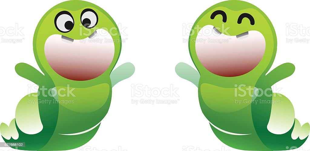 caterpillar cheerful smiles and enjoys two types vector art illustration