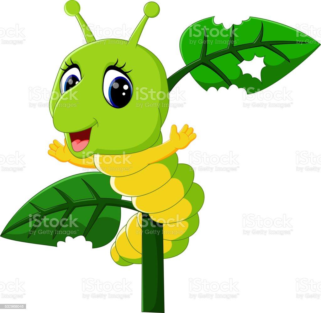 caterpillar runs on a tree vector art illustration