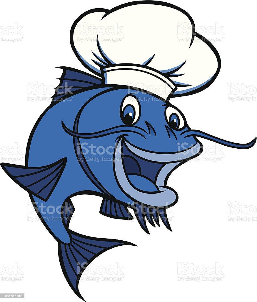 Catfish Chef vector art illustration