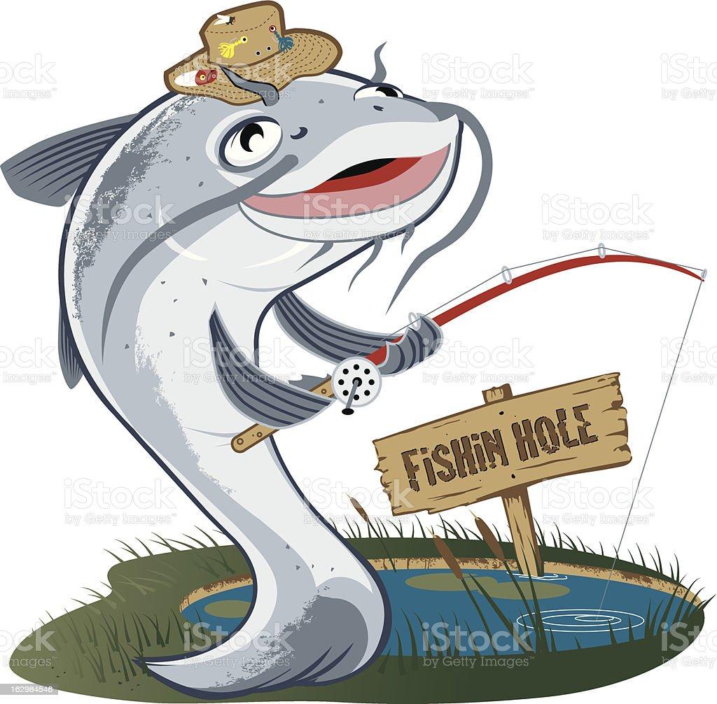 Catfish Fisherman vector art illustration
