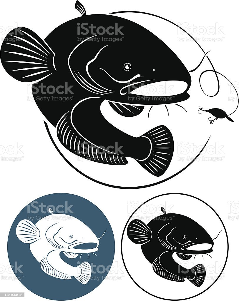 Catfish illustrations colored in black royalty-free stock vector art